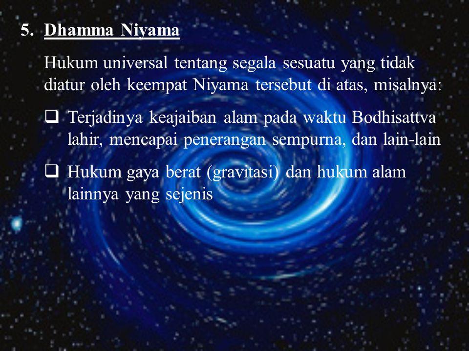 4.Citta Niyama Hukum universal tentang pikiran atau batin, misalnya:  Proses kesadaran  Timbul dan lenyapnya kesadaran  Kekuatan pikiran dari keber