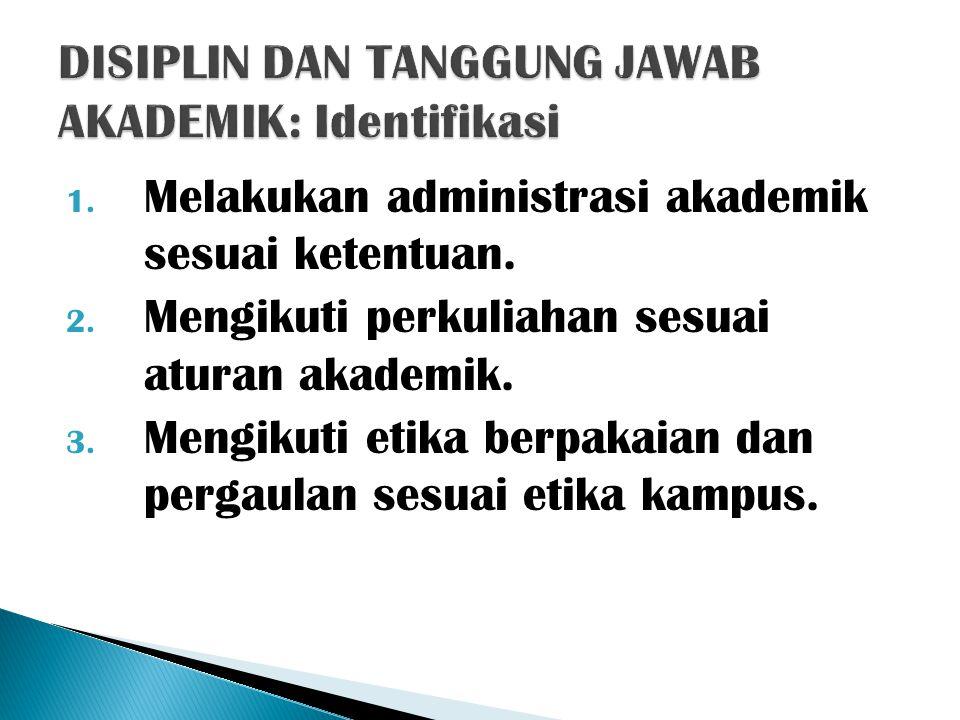 1. Melakukan administrasi akademik sesuai ketentuan. 2. Mengikuti perkuliahan sesuai aturan akademik. 3. Mengikuti etika berpakaian dan pergaulan sesu