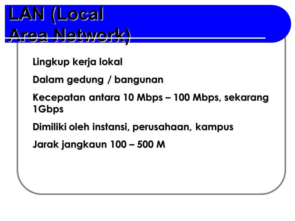 LAN (Local Area Network) Lingkup kerja lokal Dalam gedung / bangunan Kecepatan antara 10 Mbps – 100 Mbps, sekarang 1Gbps Dimiliki oleh instansi, perusahaan, kampus Jarak jangkaun 100 – 500 M