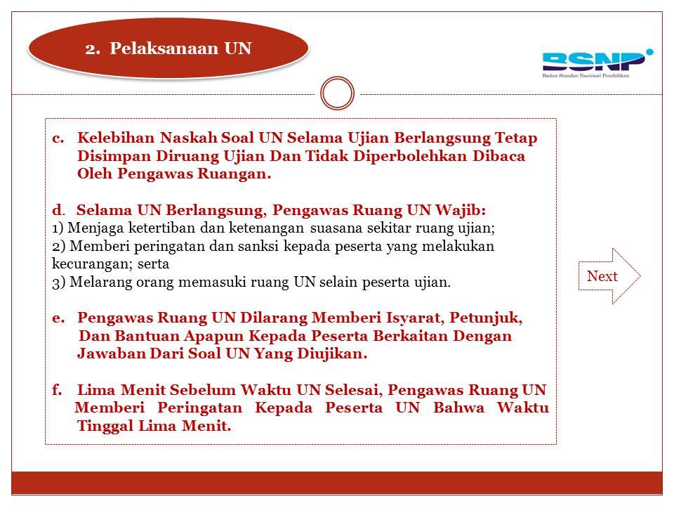 c.Kelebihan Naskah Soal UN Selama Ujian Berlangsung Tetap Disimpan Diruang Ujian Dan Tidak Diperbolehkan Dibaca Oleh Pengawas Ruangan. d. Selama UN Be