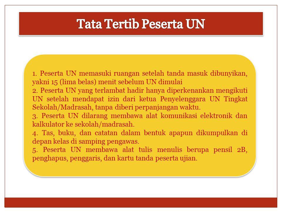 6.Peserta UN mengisi daftar hadir dengan menggunakan pulpen yang disediakan oleh pengawas ruangan.