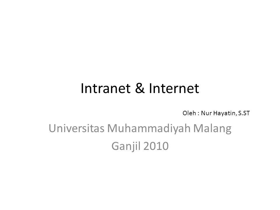Intranet & Internet Universitas Muhammadiyah Malang Ganjil 2010 Oleh : Nur Hayatin, S.ST