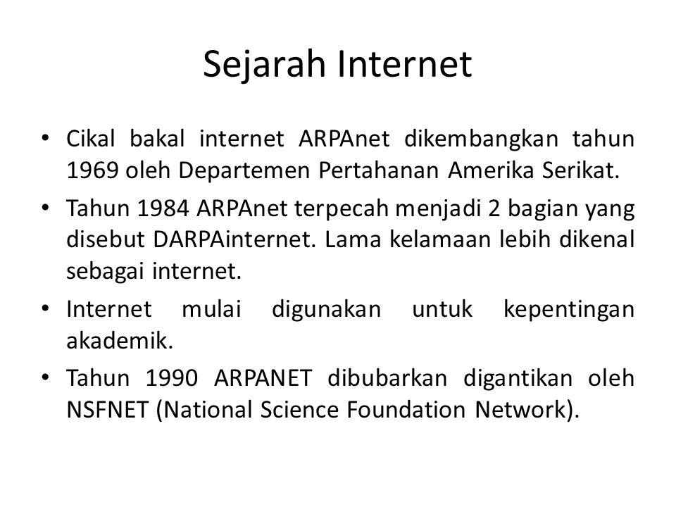 Sejarah Internet Cikal bakal internet ARPAnet dikembangkan tahun 1969 oleh Departemen Pertahanan Amerika Serikat. Tahun 1984 ARPAnet terpecah menjadi