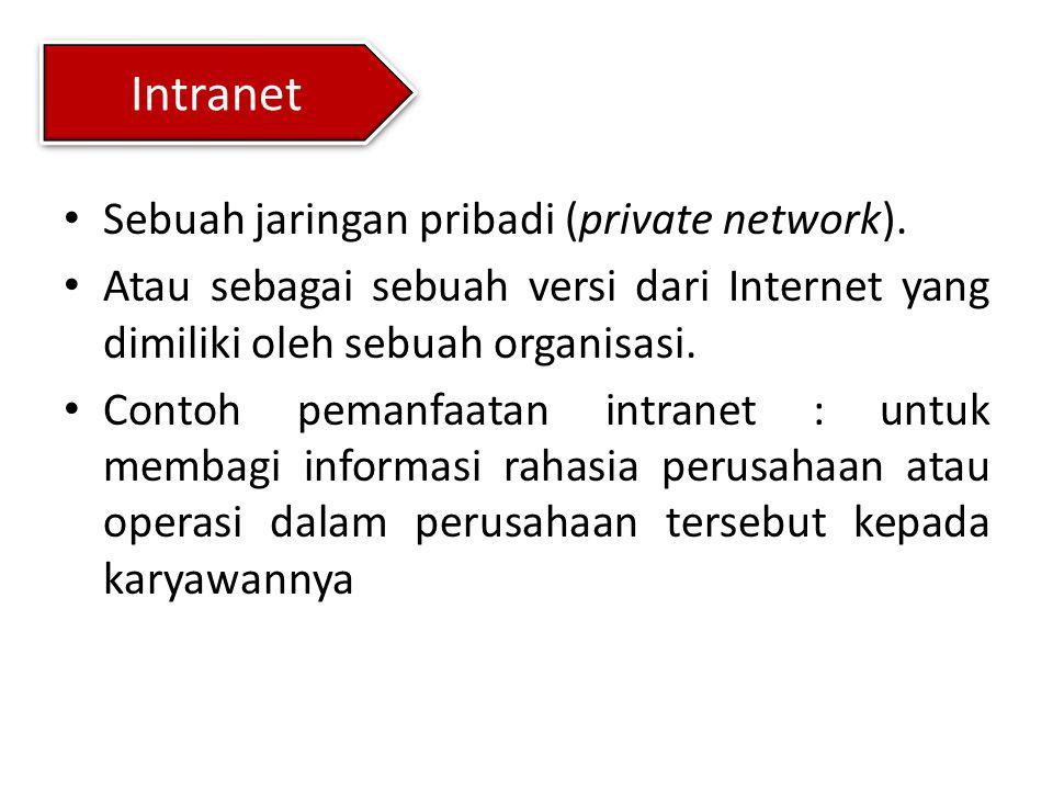 Intranet Sebuah jaringan pribadi (private network). Atau sebagai sebuah versi dari Internet yang dimiliki oleh sebuah organisasi. Contoh pemanfaatan i