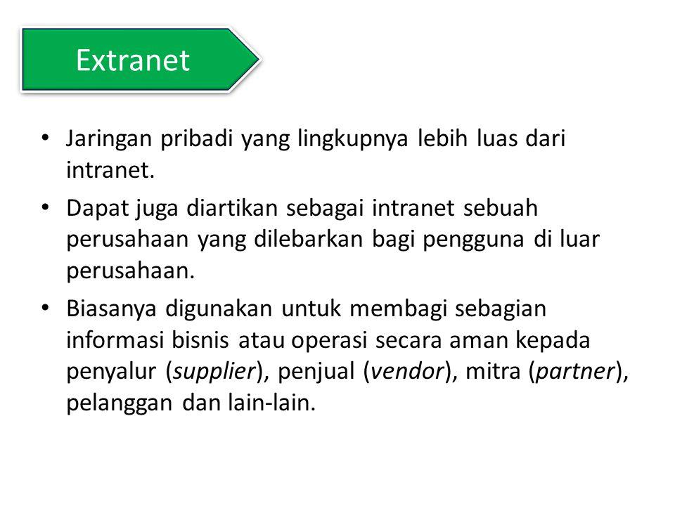 Extranet Jaringan pribadi yang lingkupnya lebih luas dari intranet. Dapat juga diartikan sebagai intranet sebuah perusahaan yang dilebarkan bagi pengg