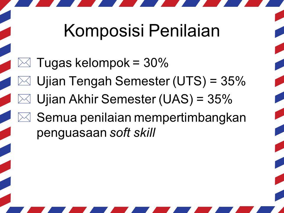 Komposisi Penilaian  Tugas kelompok = 30%  Ujian Tengah Semester (UTS) = 35%  Ujian Akhir Semester (UAS) = 35%  Semua penilaian mempertimbangkan p