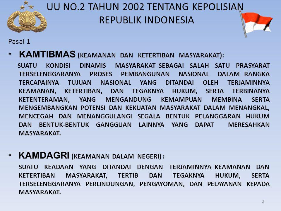 UU NO.2 TAHUN 2002 TENTANG KEPOLISIAN REPUBLIK INDONESIA Pasal 1 * KAMTIBMAS (KEAMANAN DAN KETERTIBAN MASYARAKAT): SUATU KONDISI DINAMIS MASYARAKAT SE