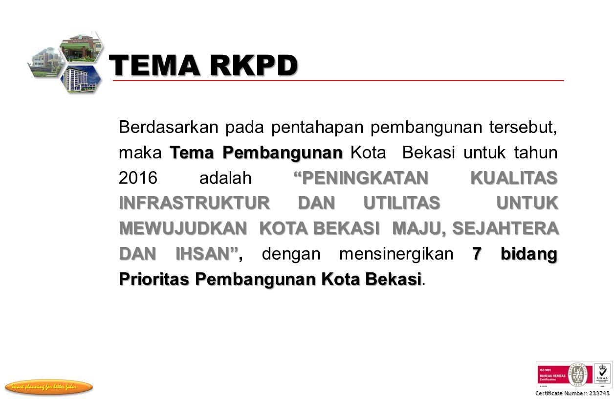 Certificate Number: 233745 Smart planning for better futur Tema Pembangunan PENINGKATAN KUALITAS INFRASTRUKTUR DAN UTILITAS UNTUK MEWUJUDKAN KOTA BEKASI MAJU, SEJAHTERA DAN IHSAN 7 bidang Prioritas Pembangunan Kota Bekasi Berdasarkan pada pentahapan pembangunan tersebut, maka Tema Pembangunan Kota Bekasi untuk tahun 2016 adalah PENINGKATAN KUALITAS INFRASTRUKTUR DAN UTILITAS UNTUK MEWUJUDKAN KOTA BEKASI MAJU, SEJAHTERA DAN IHSAN , dengan mensinergikan 7 bidang Prioritas Pembangunan Kota Bekasi.