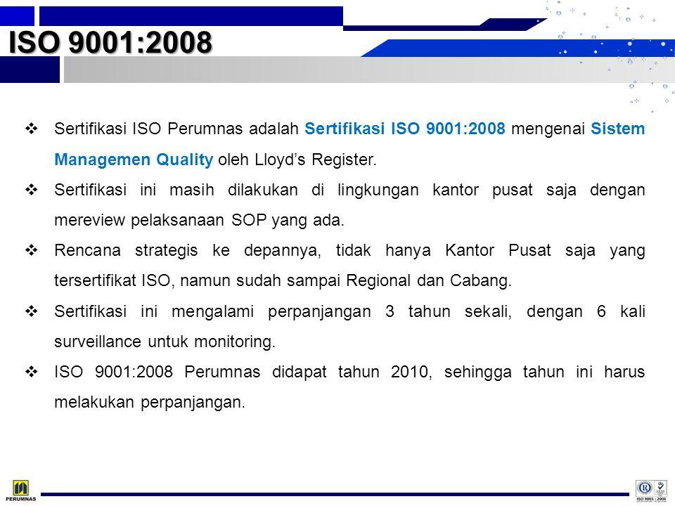 ISO 9001:2008  Sertifikasi ISO Perumnas adalah Sertifikasi ISO 9001:2008 mengenai Sistem Managemen Quality oleh Lloyd's Register.  Sertifikasi ini m