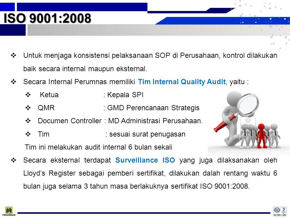  Untuk menjaga konsistensi pelaksanaan SOP di Perusahaan, kontrol dilakukan baik secara internal maupun eksternal.  Secara Internal Perumnas memilik