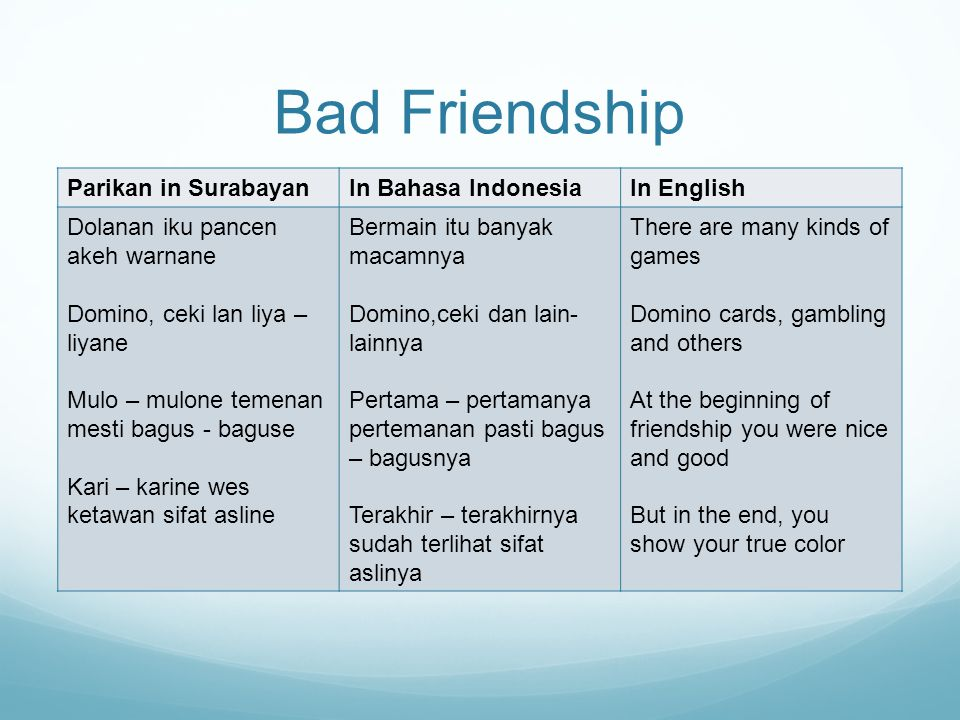 Bad Friendship Parikan in SurabayanIn Bahasa IndonesiaIn English Dolanan iku pancen akeh warnane Domino, ceki lan liya – liyane Mulo – mulone temenan mesti bagus - baguse Kari – karine wes ketawan sifat asline Bermain itu banyak macamnya Domino,ceki dan lain- lainnya Pertama – pertamanya pertemanan pasti bagus – bagusnya Terakhir – terakhirnya sudah terlihat sifat aslinya There are many kinds of games Domino cards, gambling and others At the beginning of friendship you were nice and good But in the end, you show your true color