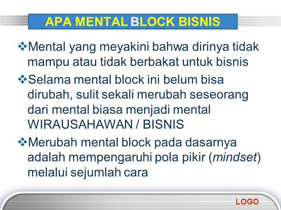 LOGO APA MENTAL BLOCK BISNIS  Mental yang meyakini bahwa dirinya tidak mampu atau tidak berbakat untuk bisnis  Selama mental block ini belum bisa di