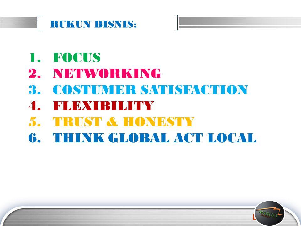 LOGO 1.FOCUS 2.NETWORKING 3.COSTUMER SATISFACTION 4.FLEXIBILITY 5.TRUST & HONESTY 6.THINK GLOBAL ACT LOCAL RUKUN BISNIS: