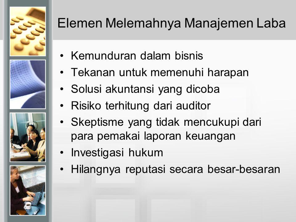 Elemen Melemahnya Manajemen Laba Kemunduran dalam bisnis Tekanan untuk memenuhi harapan Solusi akuntansi yang dicoba Risiko terhitung dari auditor Ske