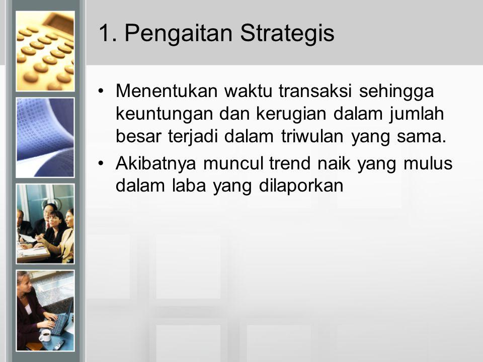 1. Pengaitan Strategis Menentukan waktu transaksi sehingga keuntungan dan kerugian dalam jumlah besar terjadi dalam triwulan yang sama. Akibatnya munc