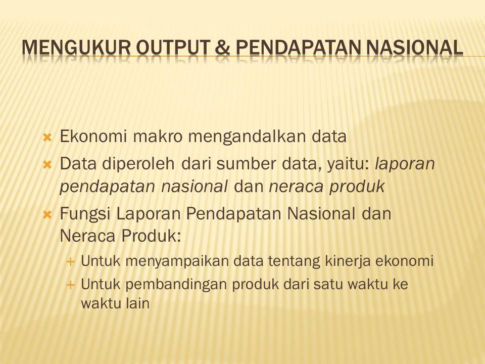  Ekonomi makro mengandalkan data  Data diperoleh dari sumber data, yaitu: laporan pendapatan nasional dan neraca produk  Fungsi Laporan Pendapatan Nasional dan Neraca Produk:  Untuk menyampaikan data tentang kinerja ekonomi  Untuk pembandingan produk dari satu waktu ke waktu lain