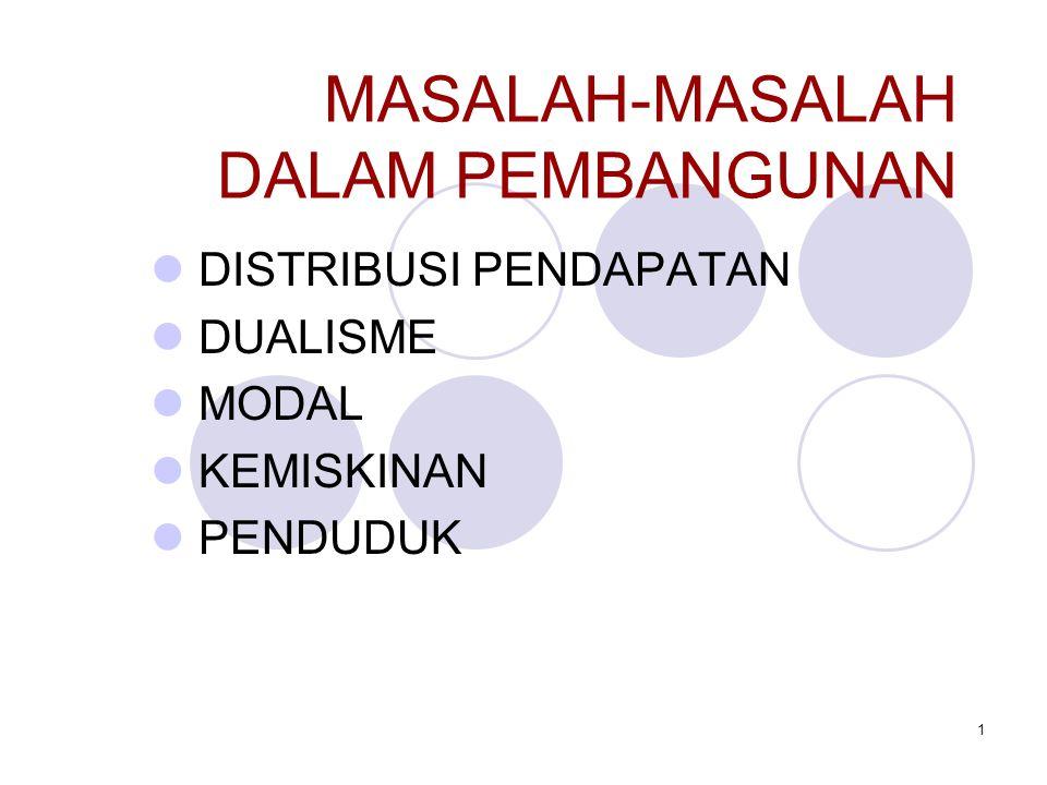 1 MASALAH-MASALAH DALAM PEMBANGUNAN DISTRIBUSI PENDAPATAN DUALISME MODAL KEMISKINAN PENDUDUK