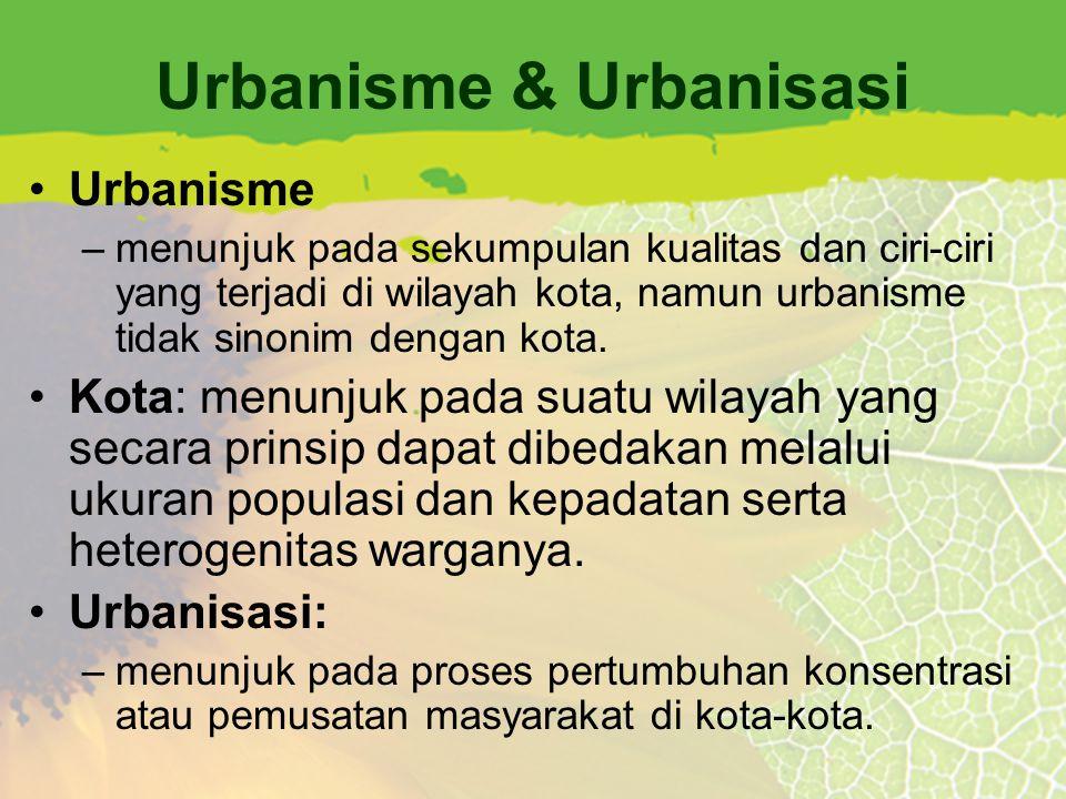 Urbanisme & Urbanisasi Urbanisme –menunjuk pada sekumpulan kualitas dan ciri-ciri yang terjadi di wilayah kota, namun urbanisme tidak sinonim dengan k