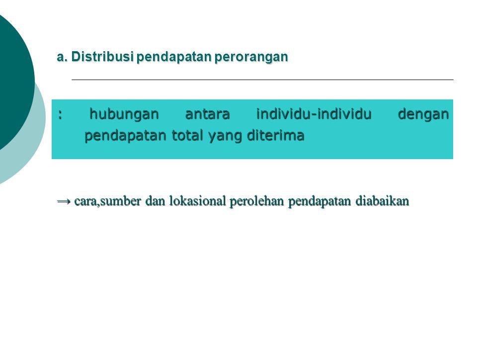 a. Distribusi pendapatan perorangan : hubungan antara individu-individu dengan pendapatan total yang diterima → cara,sumber dan lokasional perolehan p