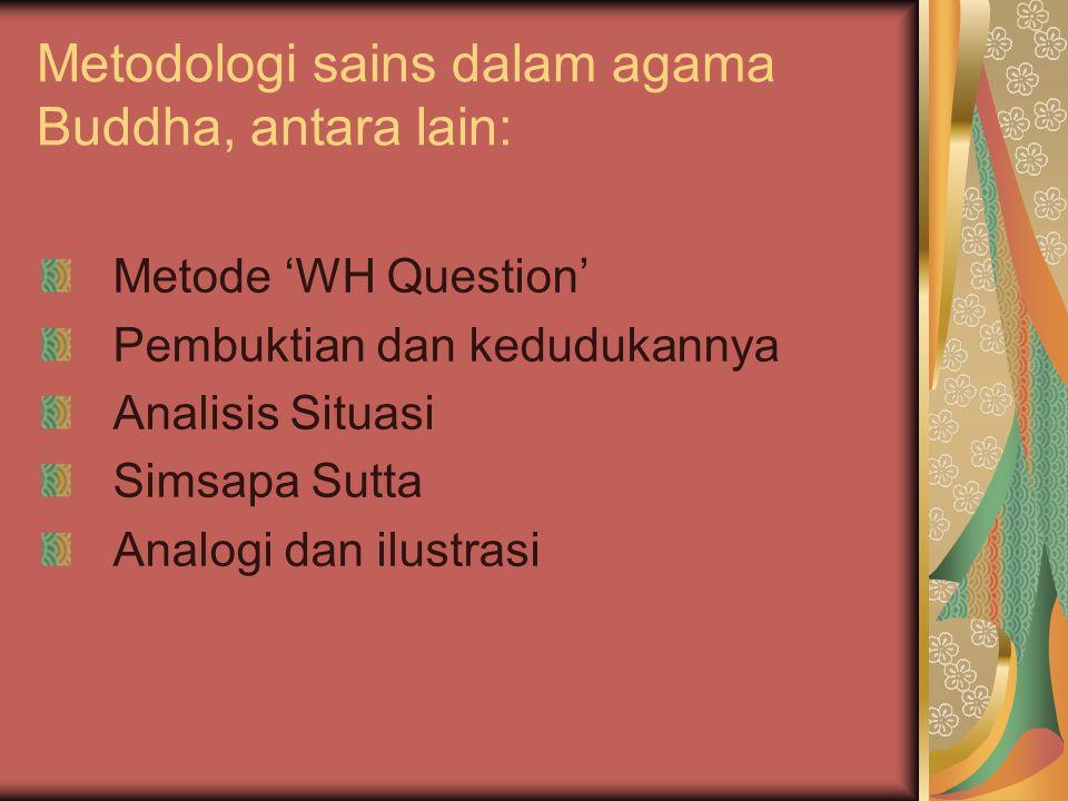 Metodologi sains dalam agama Buddha, antara lain: Metode 'WH Question' Pembuktian dan kedudukannya Analisis Situasi Simsapa Sutta Analogi dan ilustrasi