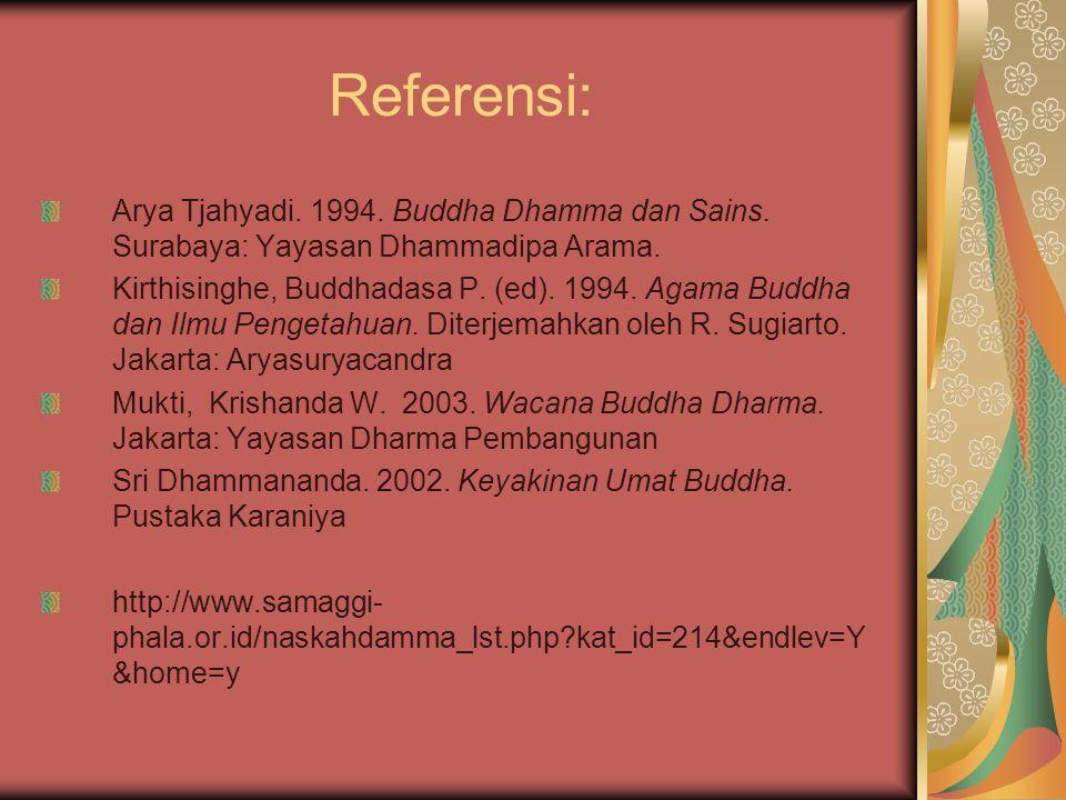 Referensi: Arya Tjahyadi. 1994. Buddha Dhamma dan Sains. Surabaya: Yayasan Dhammadipa Arama. Kirthisinghe, Buddhadasa P. (ed). 1994. Agama Buddha dan