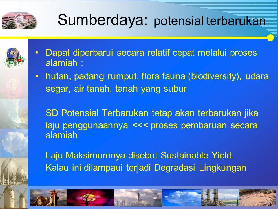 Sumberdaya: potensial terbarukan Dapat diperbarui secara relatif cepat melalui proses alamiah : hutan, padang rumput, flora fauna (biodiversity), udar