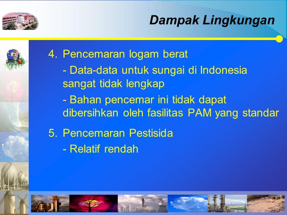 4.Pencemaran logam berat - Data-data untuk sungai di Indonesia sangat tidak lengkap - Bahan pencemar ini tidak dapat dibersihkan oleh fasilitas PAM ya