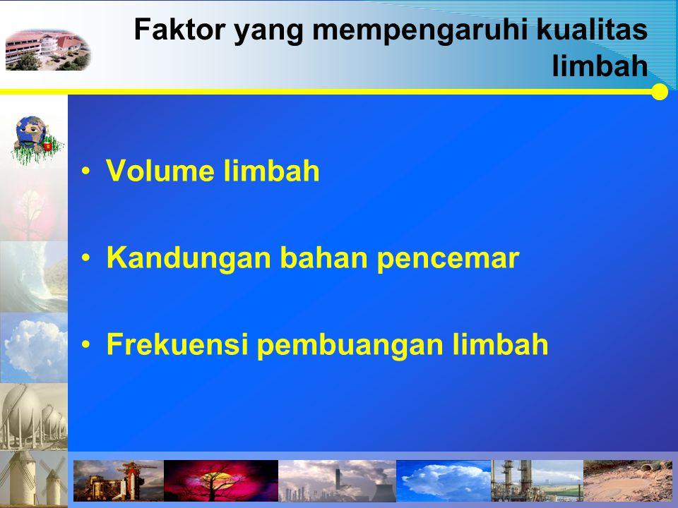 Faktor yang mempengaruhi kualitas limbah Volume limbah Kandungan bahan pencemar Frekuensi pembuangan limbah