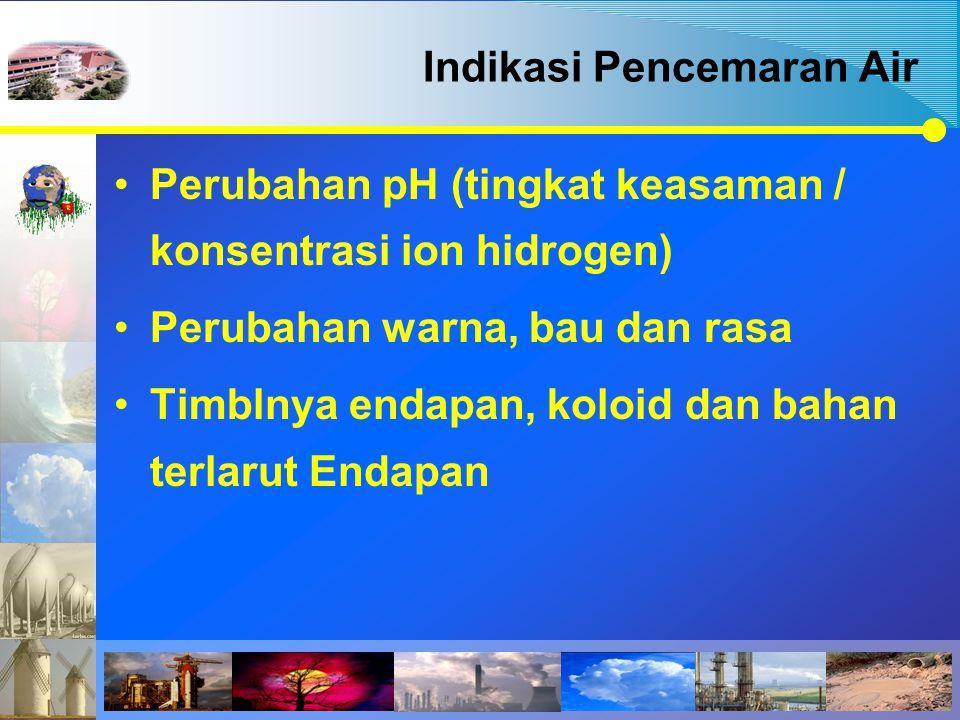 Indikasi Pencemaran Air Perubahan pH (tingkat keasaman / konsentrasi ion hidrogen) Perubahan warna, bau dan rasa Timblnya endapan, koloid dan bahan te