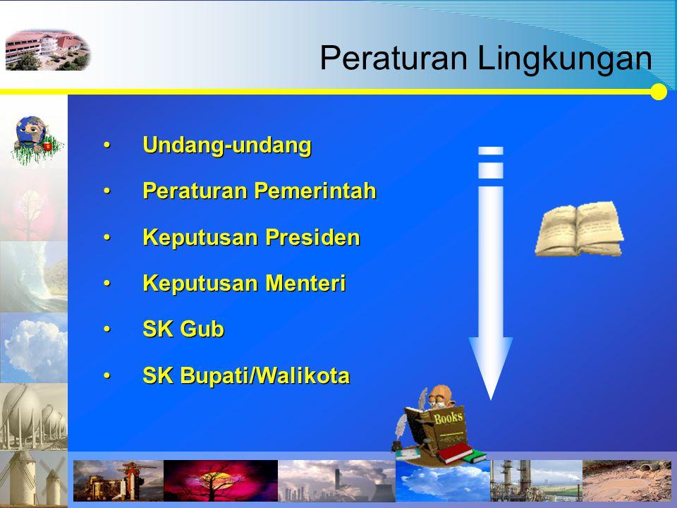 Peraturan Lingkungan Undang-undang Peraturan Pemerintah Keputusan Presiden Keputusan Menteri SK Gub SK Bupati/Walikota Undang-undang Peraturan Pemerin