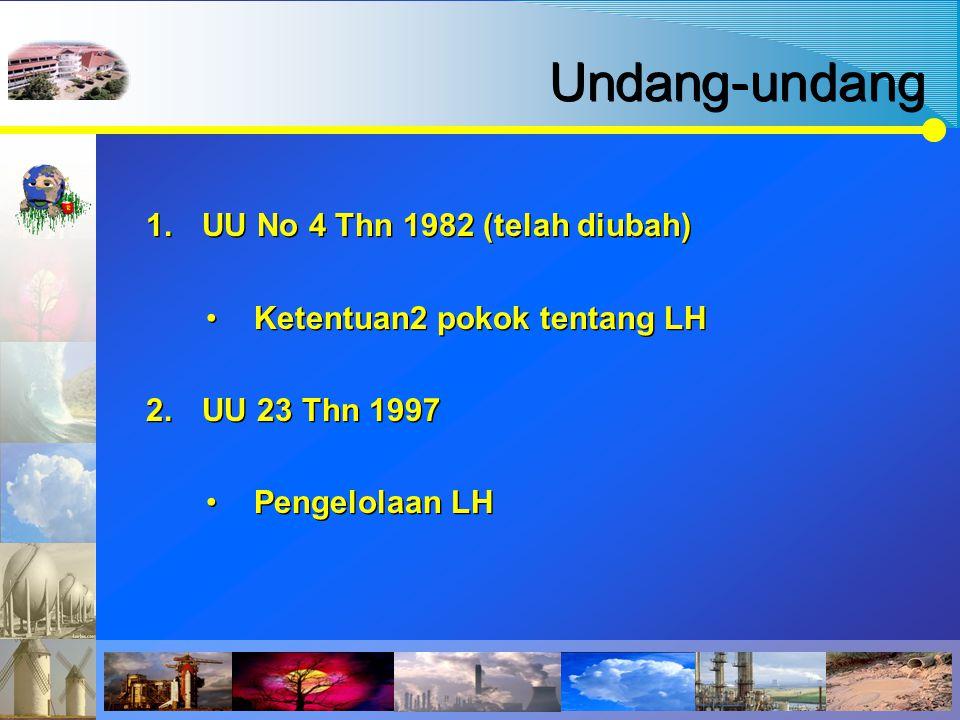 Undang-undang 1.UU No 4 Thn 1982 (telah diubah) Ketentuan2 pokok tentang LH 2.UU 23 Thn 1997 Pengelolaan LH 1.UU No 4 Thn 1982 (telah diubah) Ketentua