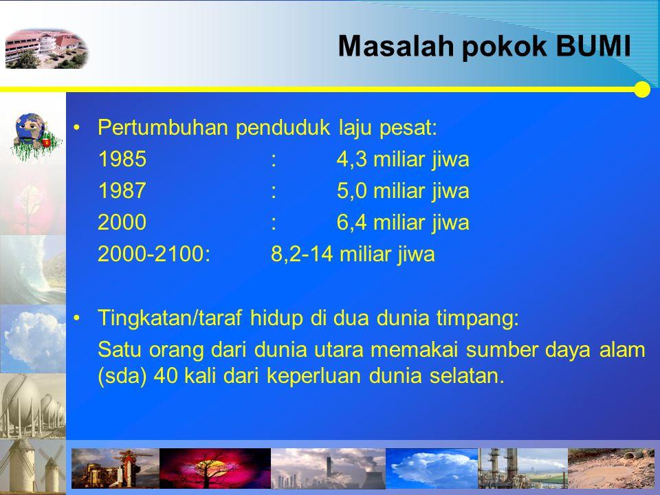 Pertumbuhan penduduk laju pesat: 1985:4,3 miliar jiwa 1987:5,0 miliar jiwa 2000:6,4 miliar jiwa 2000-2100:8,2-14 miliar jiwa Tingkatan/taraf hidup di