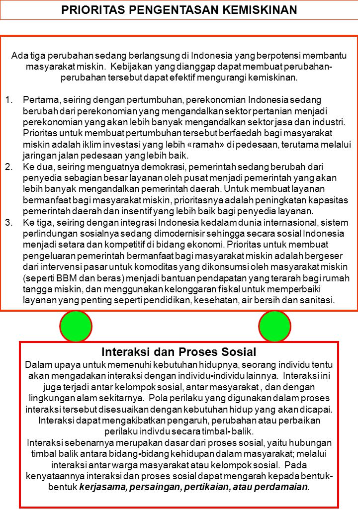 PRIORITAS PENGENTASAN KEMISKINAN Ada tiga perubahan sedang berlangsung di Indonesia yang berpotensi membantu masyarakat miskin.