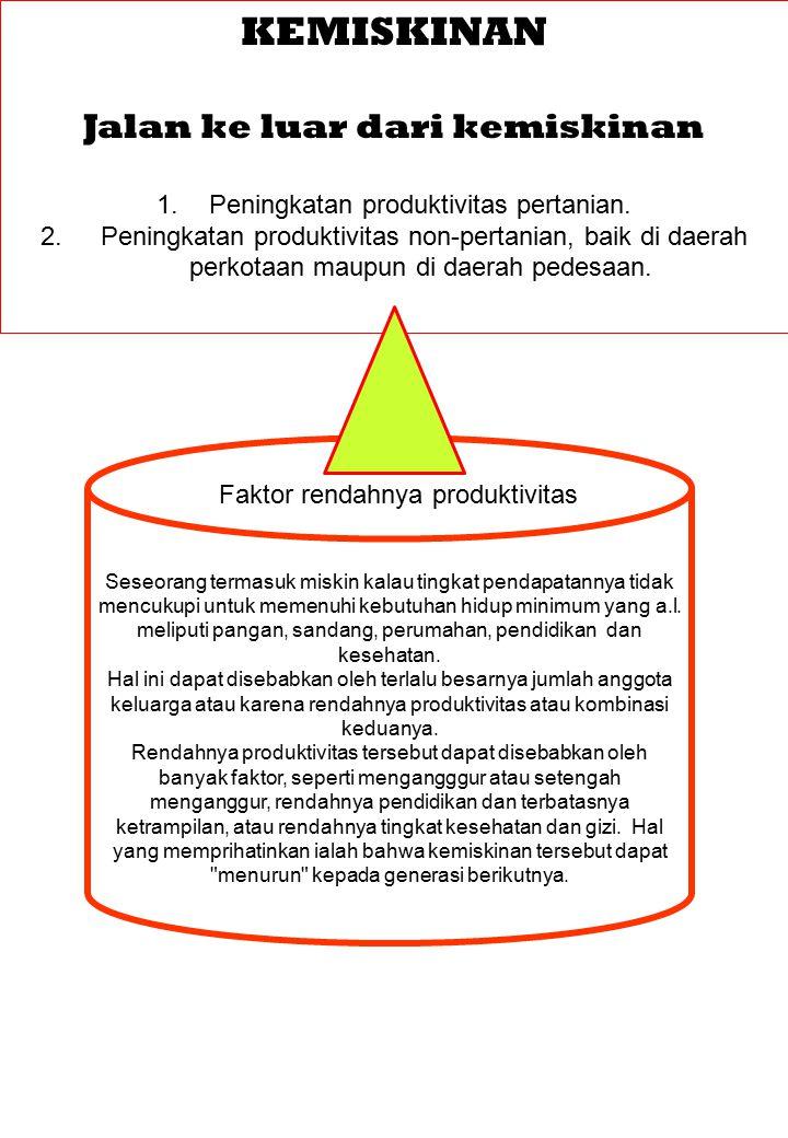 KEMISKINAN Jalan ke luar dari kemiskinan 1.Peningkatan produktivitas pertanian.
