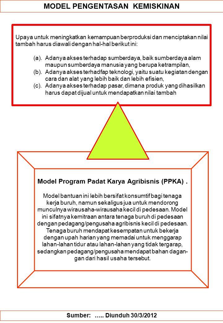 MODEL PENGENTASAN KEMISKINAN Model Program Padat Karya Agribisnis (PPKA).