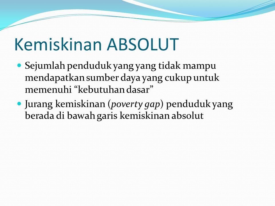 Kemiskinan ABSOLUT Sejumlah penduduk yang yang tidak mampu mendapatkan sumber daya yang cukup untuk memenuhi kebutuhan dasar Jurang kemiskinan (poverty gap) penduduk yang berada di bawah garis kemiskinan absolut