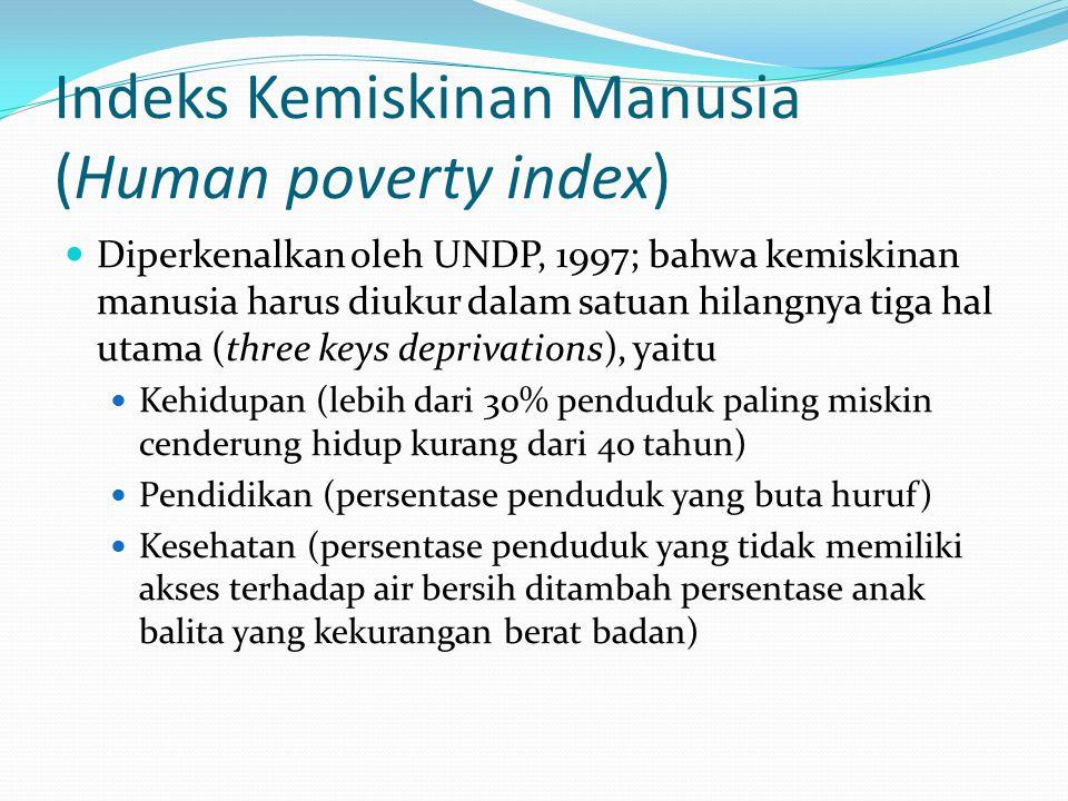 Indeks Kemiskinan Manusia (Human poverty index) Diperkenalkan oleh UNDP, 1997; bahwa kemiskinan manusia harus diukur dalam satuan hilangnya tiga hal utama (three keys deprivations), yaitu Kehidupan (lebih dari 30% penduduk paling miskin cenderung hidup kurang dari 40 tahun) Pendidikan (persentase penduduk yang buta huruf) Kesehatan (persentase penduduk yang tidak memiliki akses terhadap air bersih ditambah persentase anak balita yang kekurangan berat badan)