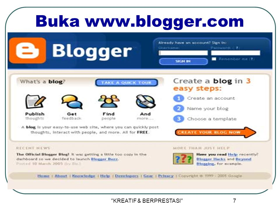 KREATIF & BERPRESTASI 7 Buka www.blogger.com