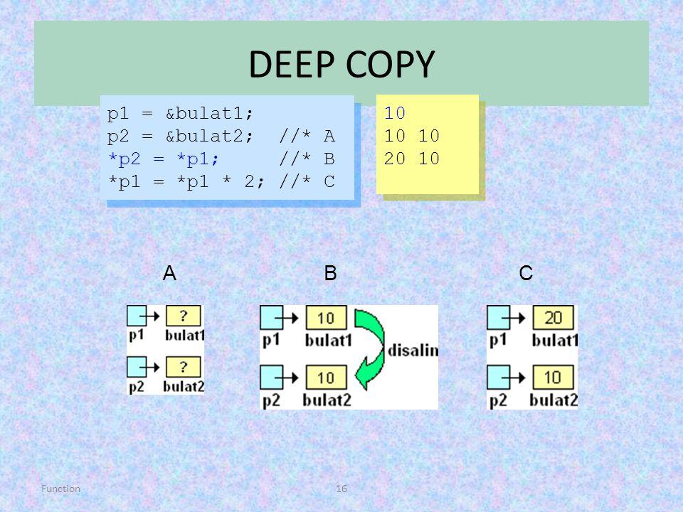 Function16 DEEP COPY p1 = &bulat1; p2 = &bulat2; //* A *p2 = *p1; //* B *p1 = *p1 * 2; //* C p1 = &bulat1; p2 = &bulat2; //* A *p2 = *p1; //* B *p1 =