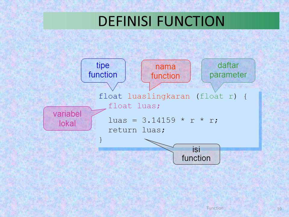 Function 19 DEFINISI FUNCTION float luaslingkaran (float r) { float luas; luas = 3.14159 * r * r; return luas; } float luaslingkaran (float r) { float