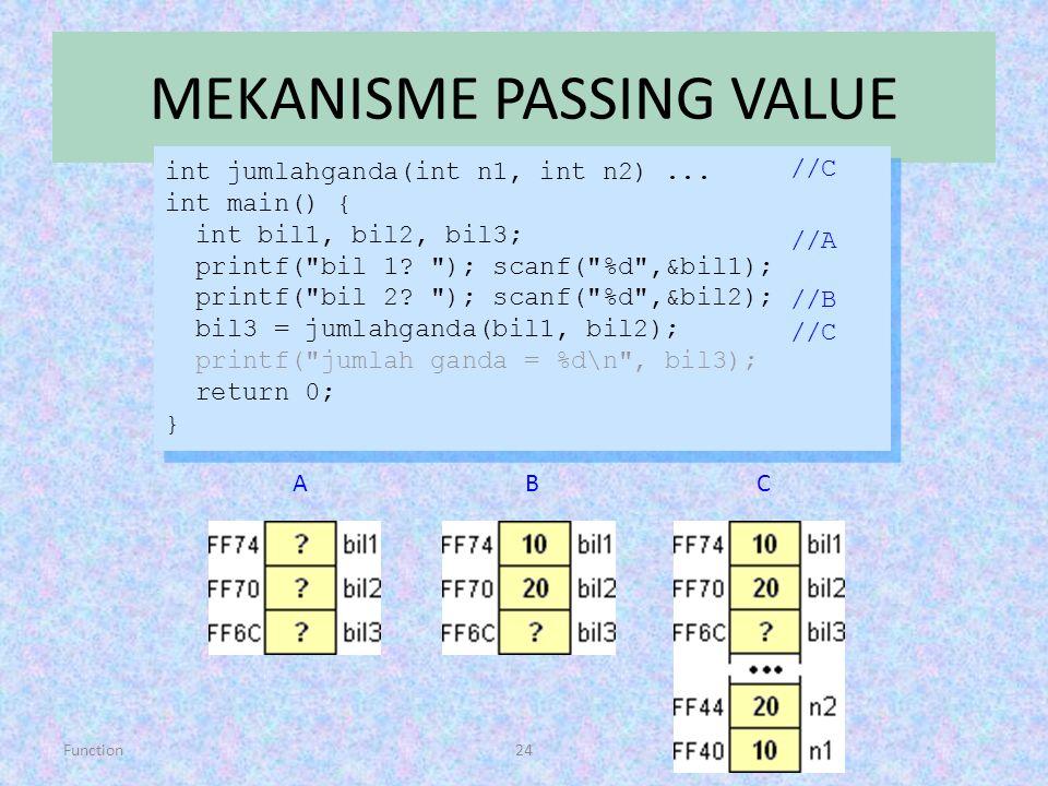 Function24 MEKANISME PASSING VALUE int jumlahganda(int n1, int n2)... int main() { int bil1, bil2, bil3; printf(