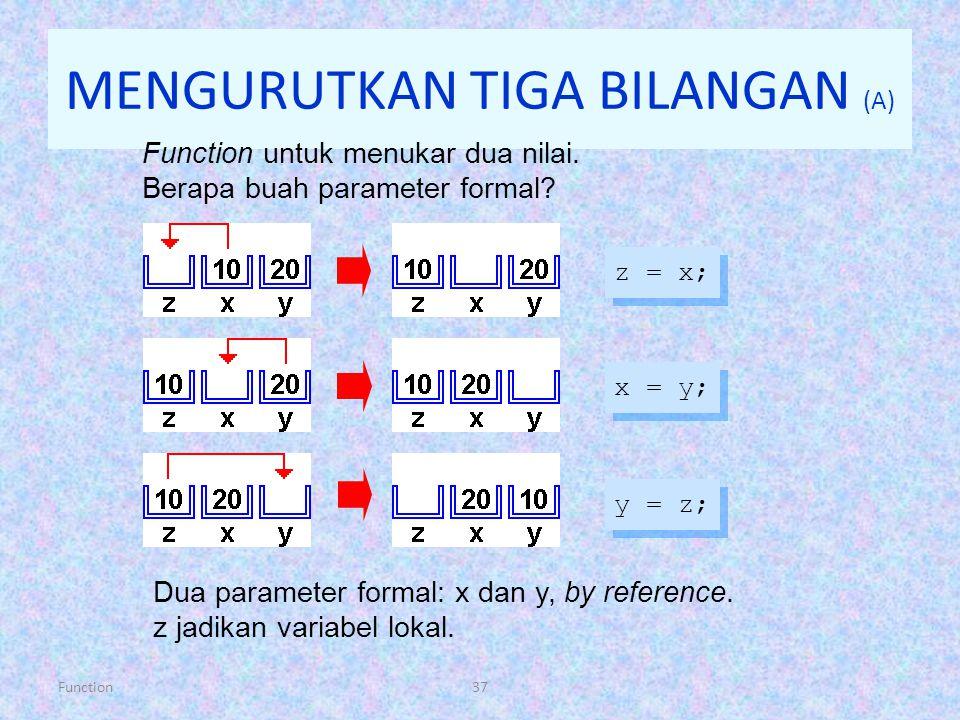 Function37 MENGURUTKAN TIGA BILANGAN (A) Function untuk menukar dua nilai. Berapa buah parameter formal? z = x; x = y; y = z; Dua parameter formal: x