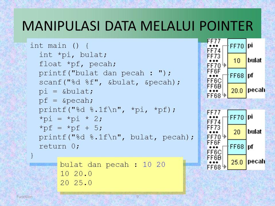 Function9 MANIPULASI DATA MELALUI POINTER int main () { int *pi, bulat; float *pf, pecah; printf(