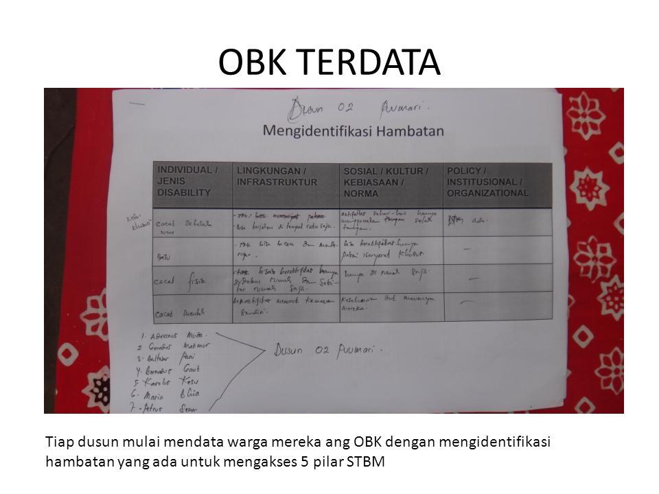 OBK TERDATA Tiap dusun mulai mendata warga mereka ang OBK dengan mengidentifikasi hambatan yang ada untuk mengakses 5 pilar STBM