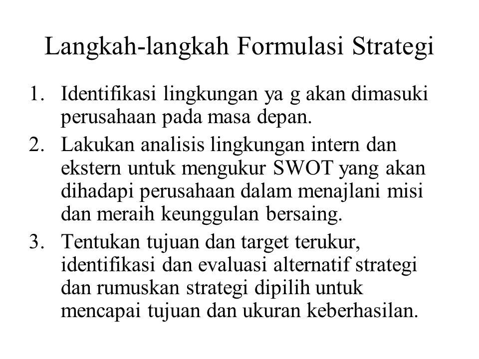 Langkah-langkah Formulasi Strategi 1.Identifikasi lingkungan ya g akan dimasuki perusahaan pada masa depan.