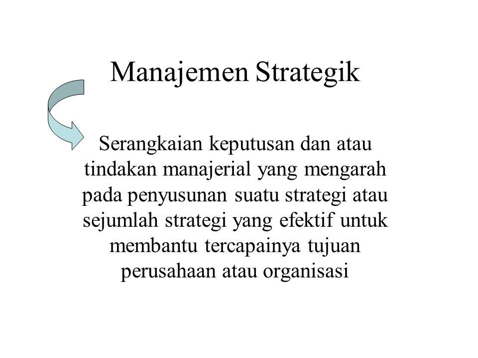 Manajemen Strategik Serangkaian keputusan dan atau tindakan manajerial yang mengarah pada penyusunan suatu strategi atau sejumlah strategi yang efektif untuk membantu tercapainya tujuan perusahaan atau organisasi