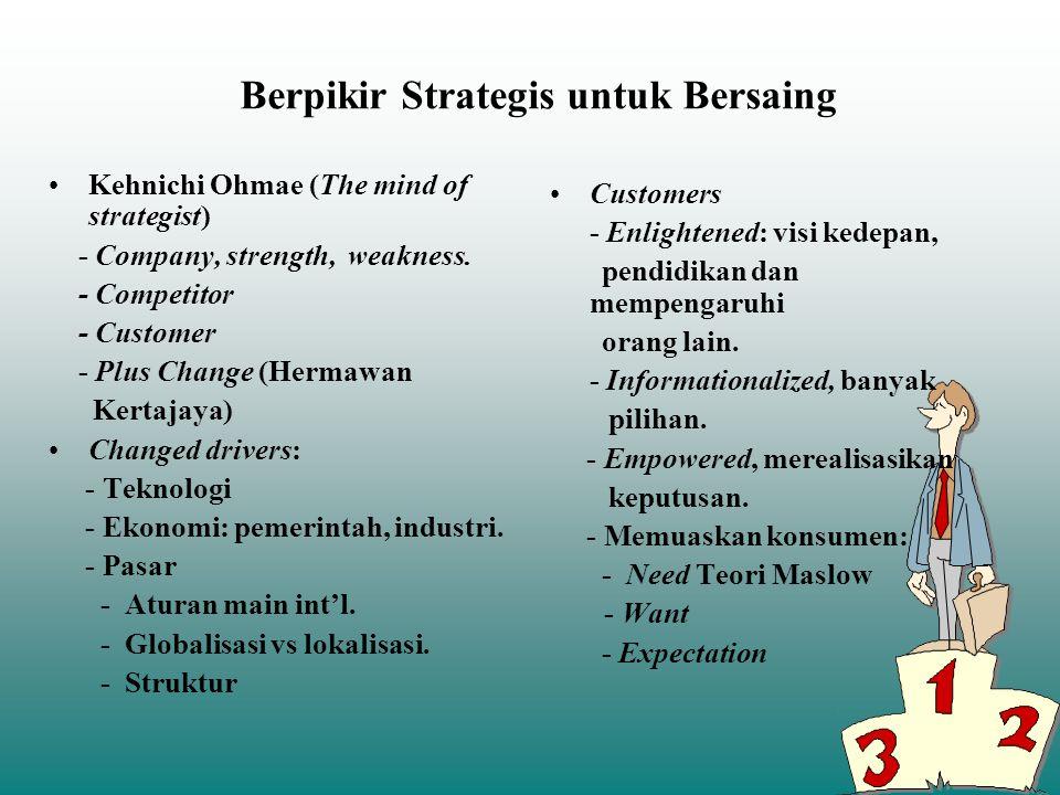 Berpikir Strategis untuk Bersaing Kehnichi Ohmae (The mind of strategist) - Company, strength, weakness. - Competitor - Customer - Plus Change (Hermaw