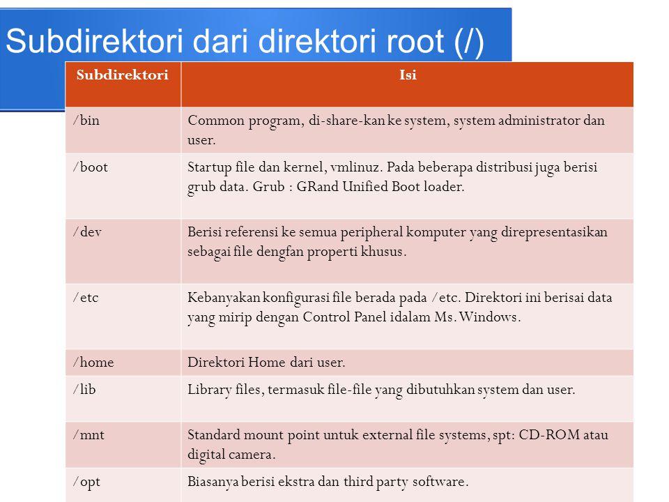 Subdirektori dari direktori root (/) SubdirektoriIsi /lost+foundFile disimpan di sini ketika terjadi kesalahan.