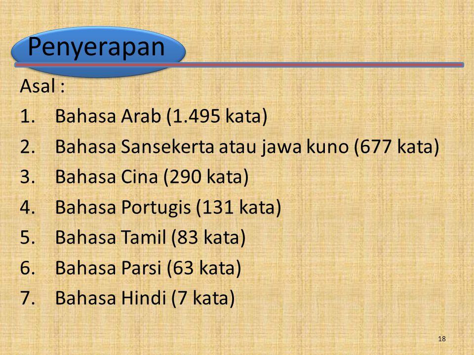 Penyerapan Asal : 1.Bahasa Arab (1.495 kata) 2. Bahasa Sansekerta atau jawa kuno (677 kata) 3.