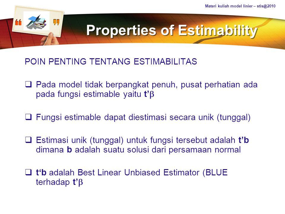 LOGO Properties of Estimability POIN PENTING TENTANG ESTIMABILITAS  Pada model tidak berpangkat penuh, pusat perhatian ada pada fungsi estimable yait